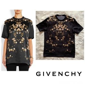 GIVENCHY PARIS Floral Silk Satin T-Shirt